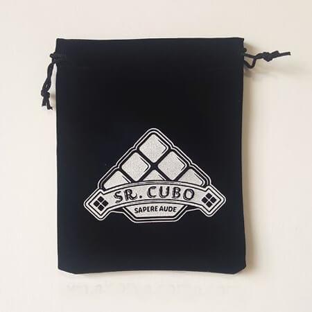 Black velvet bag with printed Logo
