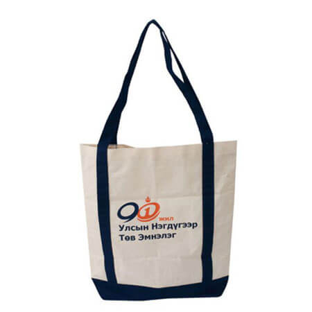 Canvas tote bag with company logo