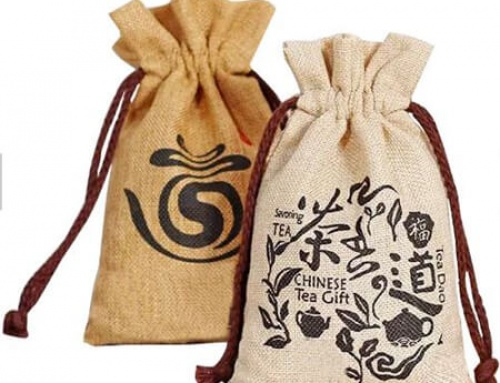 Custom design jute tea gift bag