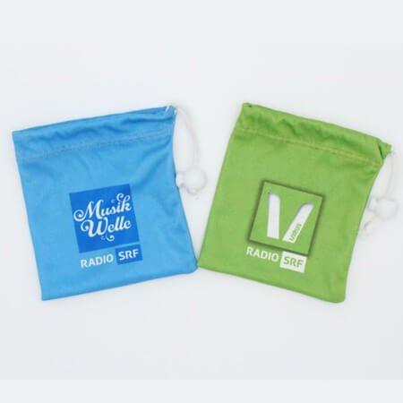 Custom printed velvet drawstring bag