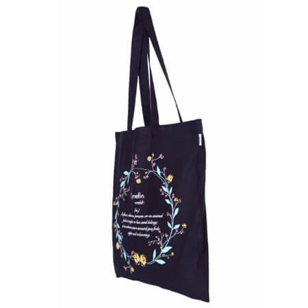 Eco-friendly canvas tote bag without gusset