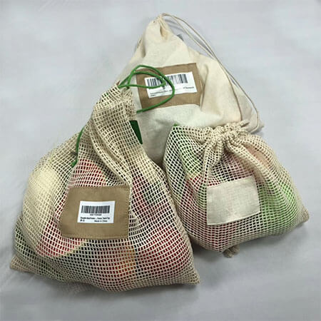 Organic cotton reusable drawstring bags