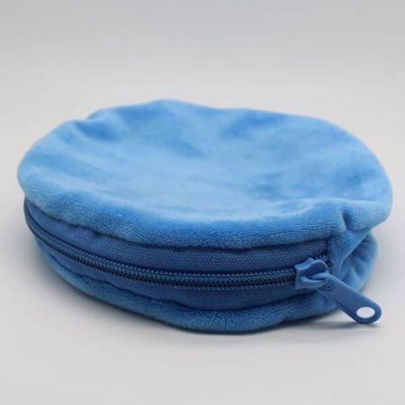 Round velvet pouch with zipper