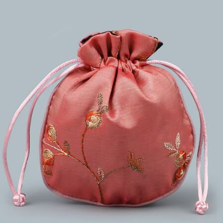 Custom embroidery satin bag with drawstring