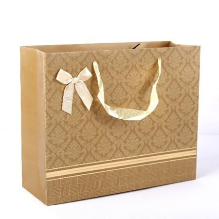 Luxury art paper bags with ribbon